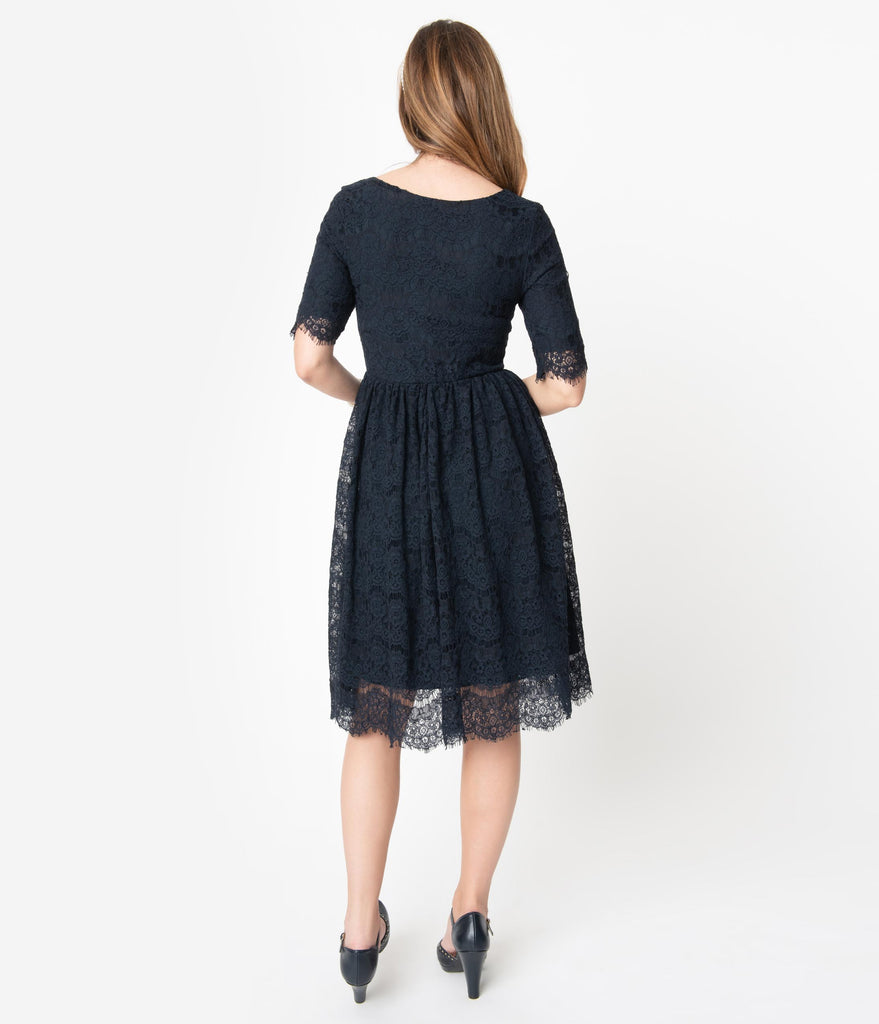 Vintage Style Navy Blue Lace Sleeved Evelyn Swing Dress