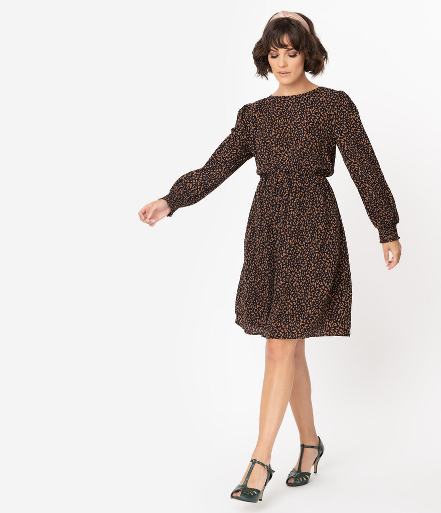 Retro Style Black & Brown Print Long Sleeve Flare Dress