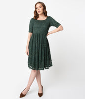 Modest Elasticized Waistline Short Sleeves Sleeves Lace Swing-Skirt Vintage Scoop Neck Dress