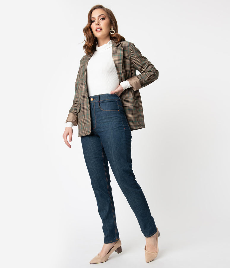 Rock A Booty 1950s Style Classy Blue Denim Cleo Jeans
