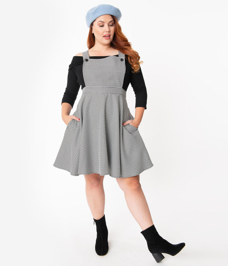 Hell Bunny Plus Size Houndstooth Harvey Pinafore Dress