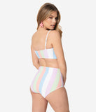 Bettie Page Sorbet Striped Bandeau Swim Top