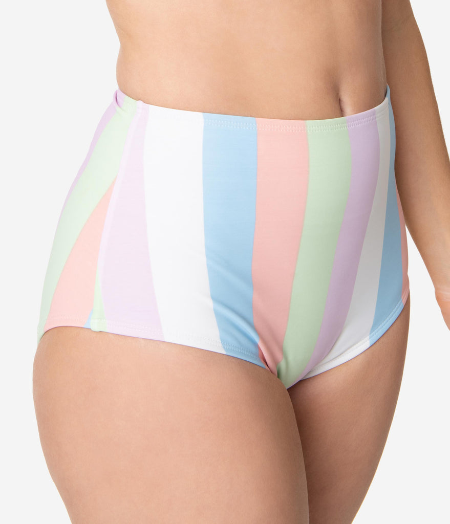 Bettie Page Sorbet Striped High Waist Swim Bottom