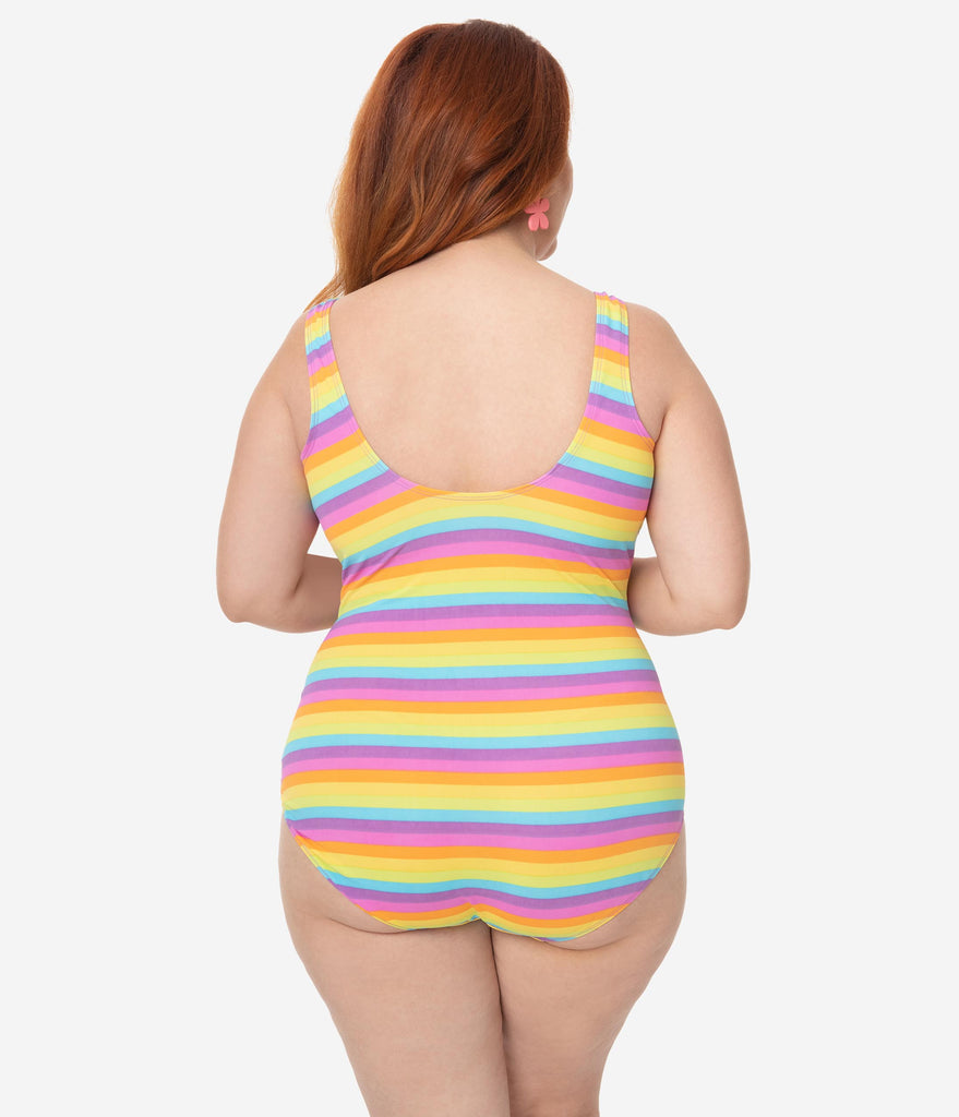 Girl Howdy Plus Size Multicolor Stripe Tank Iris One Piece Bathing Suit