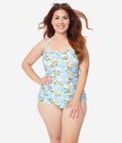 Girl Howdy Plus Size Pin Up January Apricots Print Sheath Swimsuit