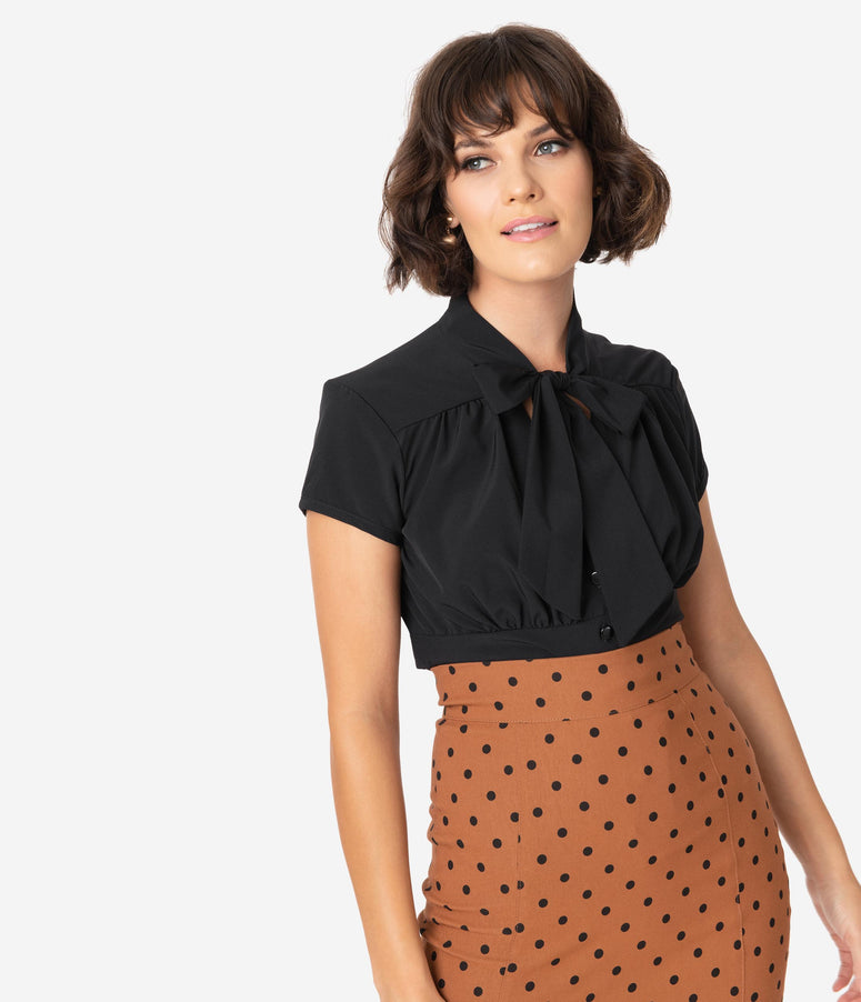Steady Retro 1940s Black Button Up Harlow Top