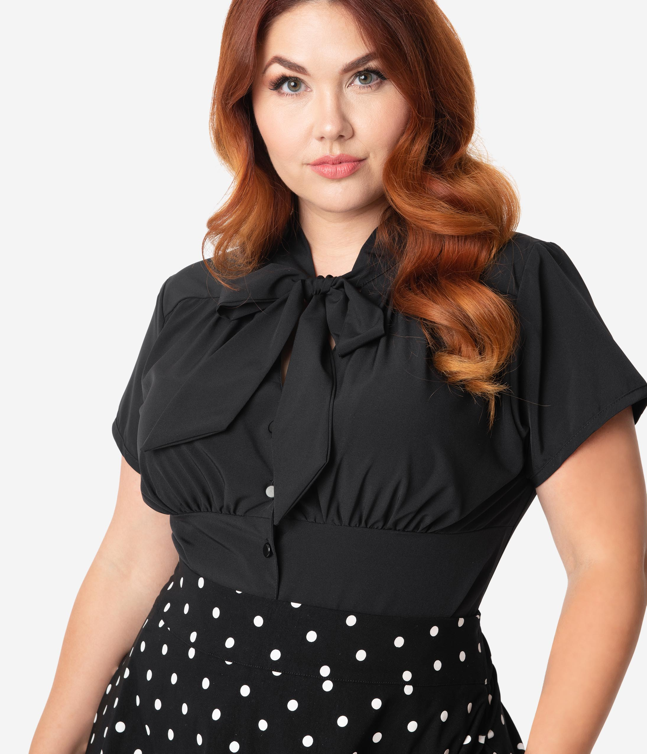 1940s Blouses and Tops Steady Retro Plus Size 1940S Black Button Up Harlow Top $48.00 AT vintagedancer.com