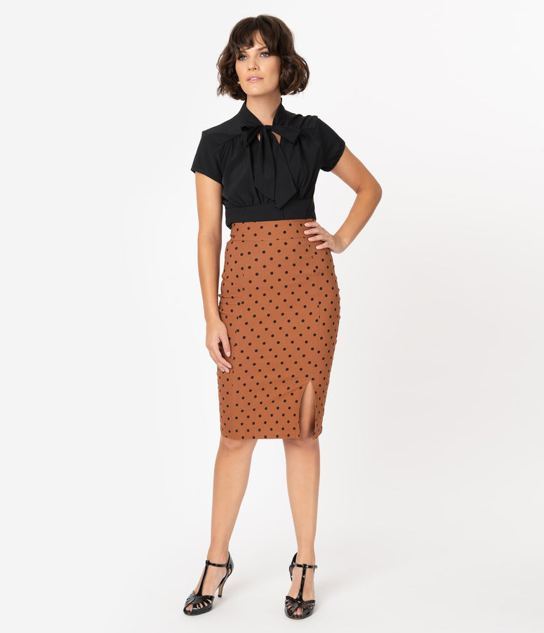 Steady 1960s Style Rust Brown & Black Polka Dot Wiggle Skirt