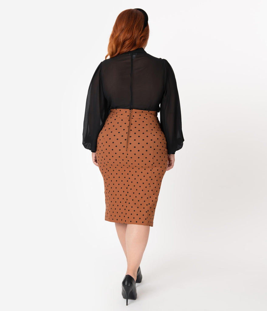 Steady Plus Size 1960s Style Rust Brown & Black Polka Dot Wiggle Skirt