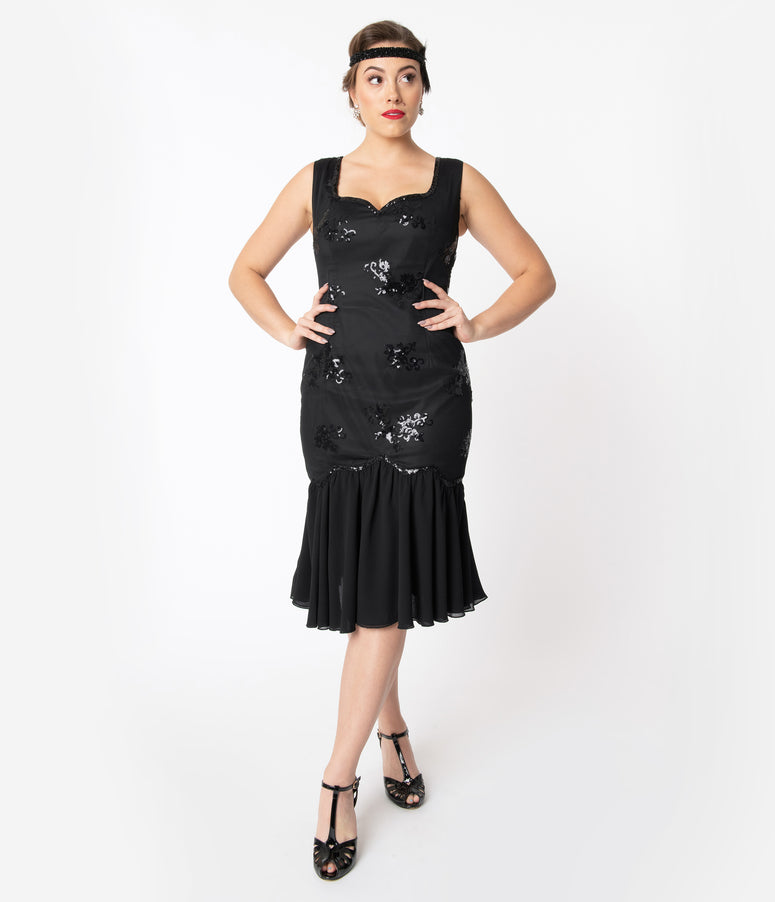 1920s Style Black Drop Waist Flapper Dress