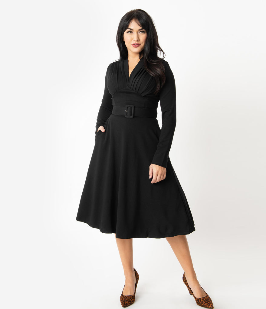 1940s Style Black Ponte Claudia Swing Dress