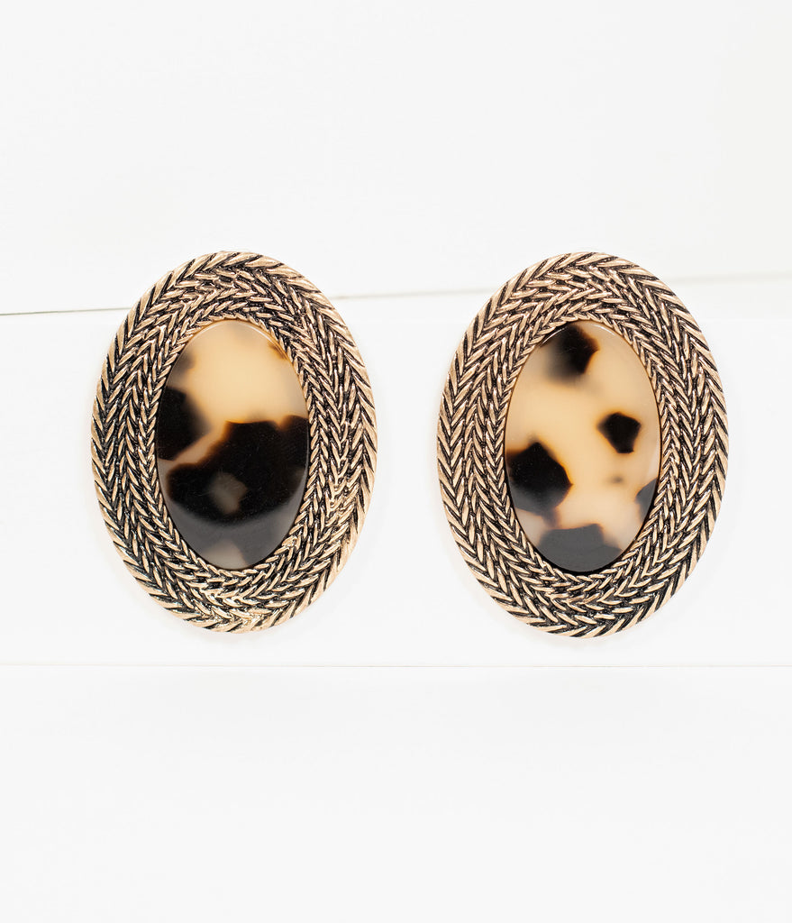 Golden Braid & Tortoise Shell Oval Post Earrings