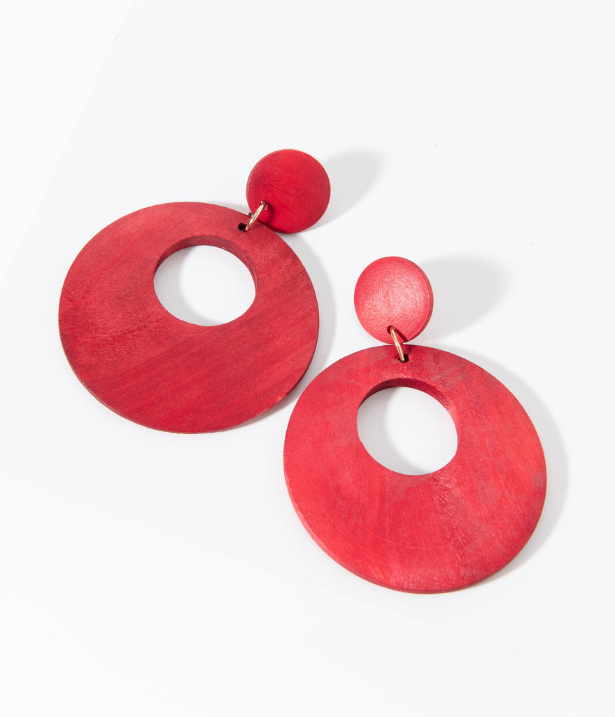 1960s Red Wooden Circle Drop Earring