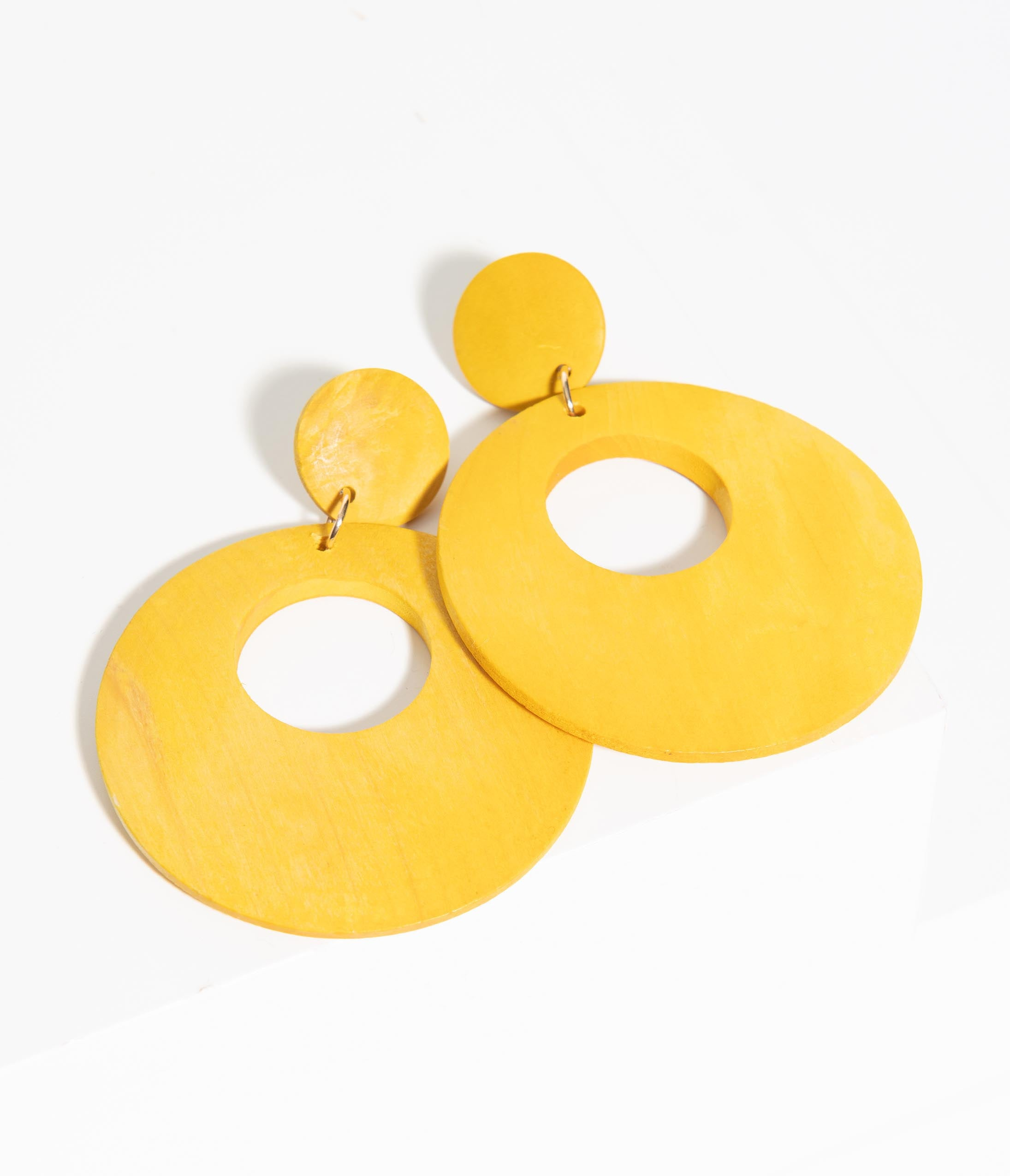 60s -70s Jewelry – Necklaces, Earrings, Rings, Bracelets 1960S Mustard Wooden Circle Drop Earring $16.00 AT vintagedancer.com