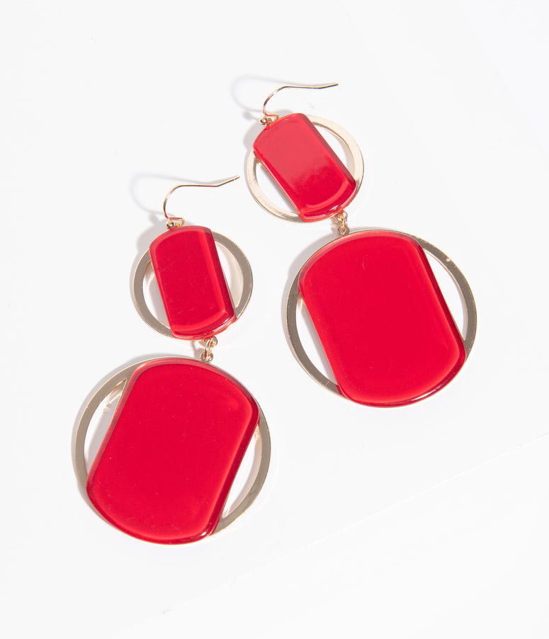 Retro Style Red & Gold Double Circle Drop Earrings