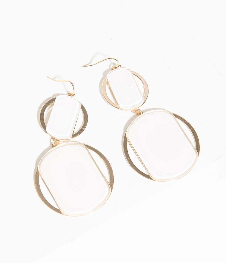 Retro Style White & Gold Double Circle Drop Earrings