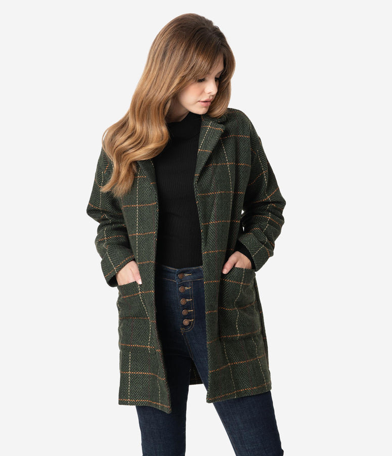 Retro Style Olive Green Plaid Open Coat