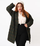 Plus Size Retro Style Olive Green Plaid Open Coat