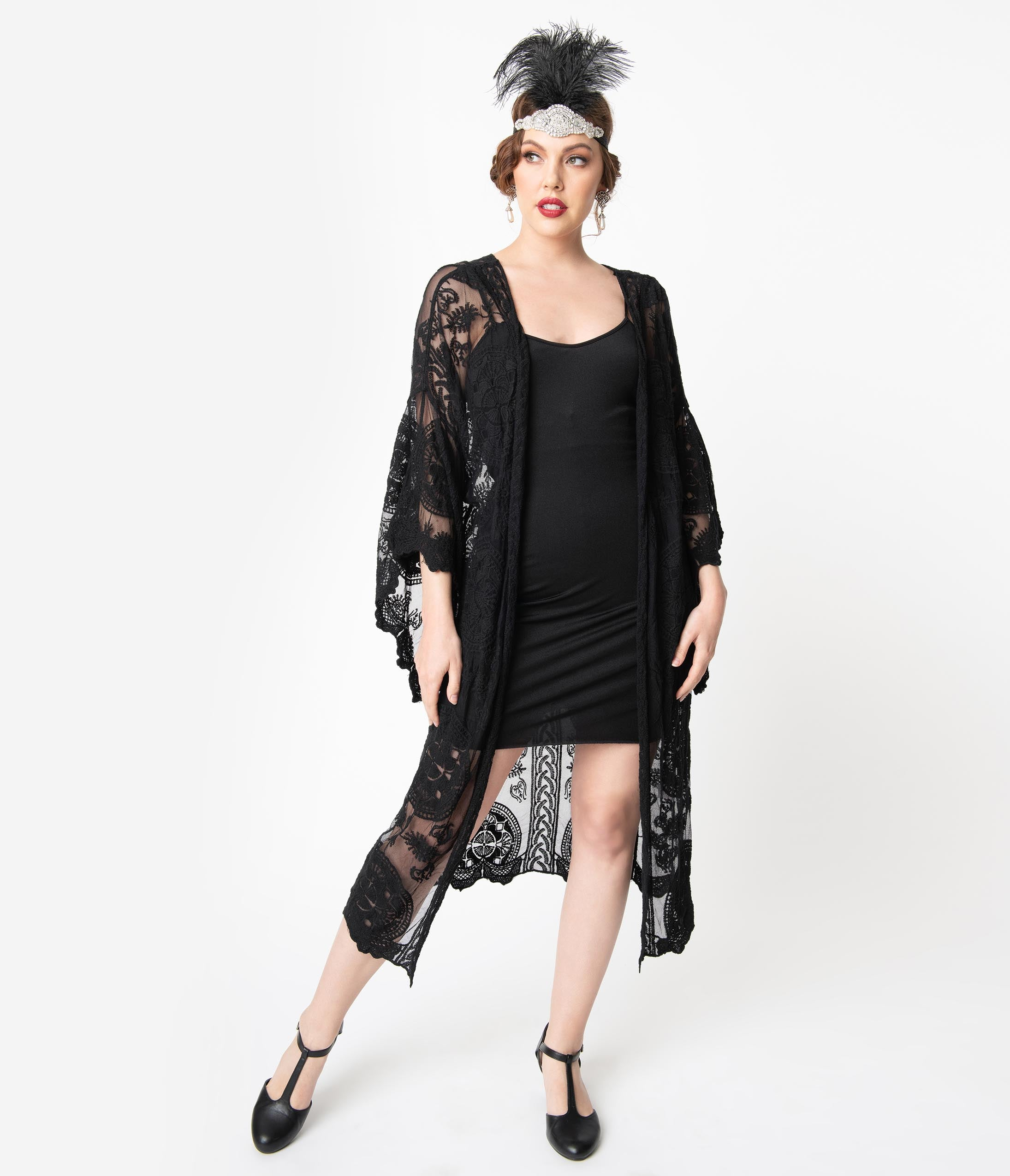 1920s Coats, Flapper Coats, 20s Jackets 1920S Style Black Embroidered Lace Mesh Long Kimono $48.00 AT vintagedancer.com