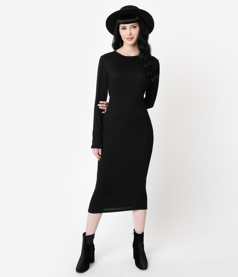 Black Ribbed Knit Long Sleeve Sweater Wiggle Dress