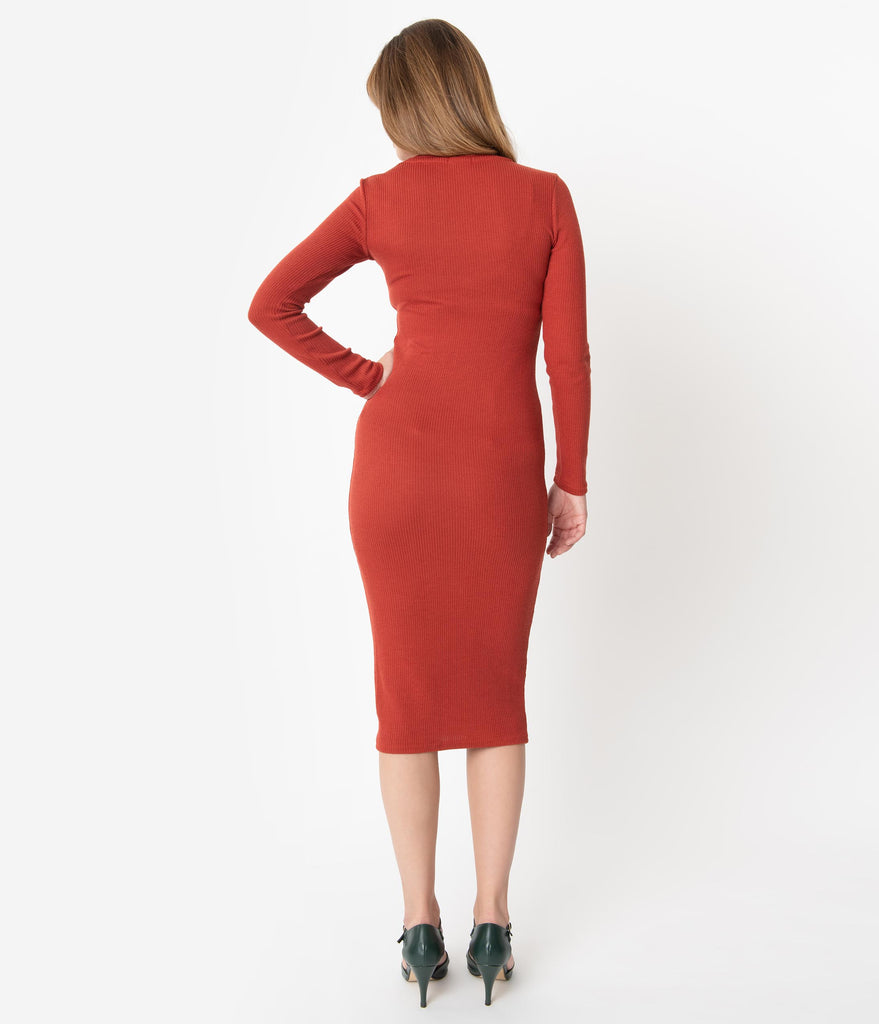 Rust Red Ribbed Knit Long Sleeve Sweater Wiggle Dress