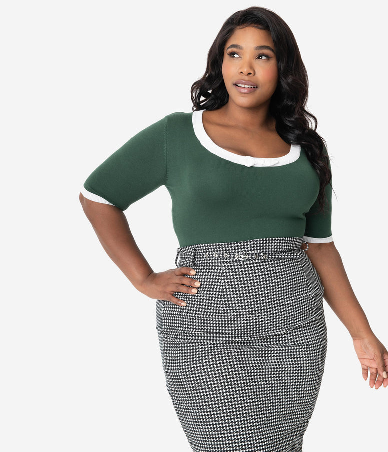 Collectif Plus Size 1950s Emerald Green Knit Half Sleeve Freya Top