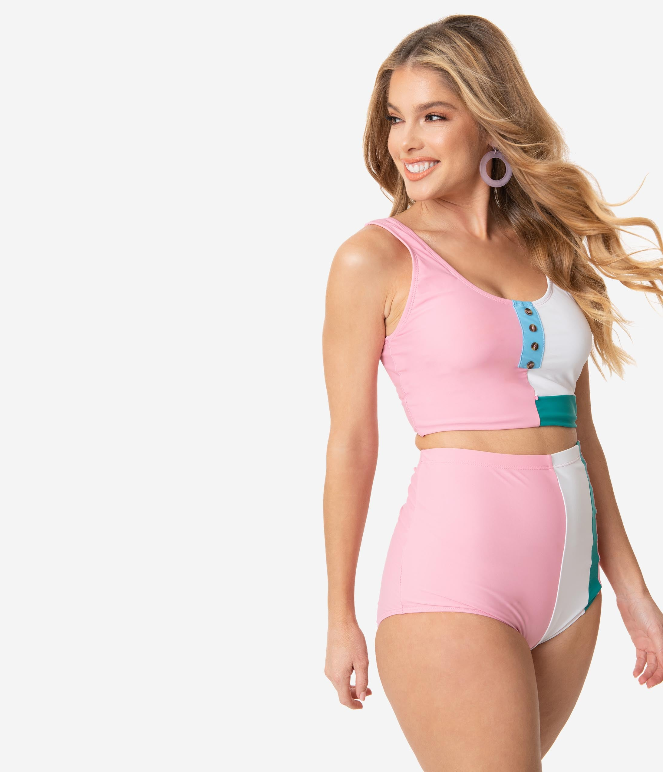 60s Swimsuits, 70s Bathing Suits | Retro Swimwear Pink  White Color Block Swim Crop Top $42.00 AT vintagedancer.com