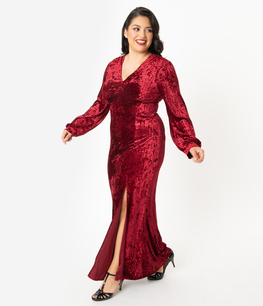 Plus Size 1970s Style Crushed Burgundy Velvet Miley Gown