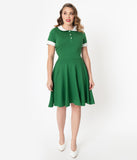 Unique Vintage Green & Ivory Collar Velma Fit & Flare Dress