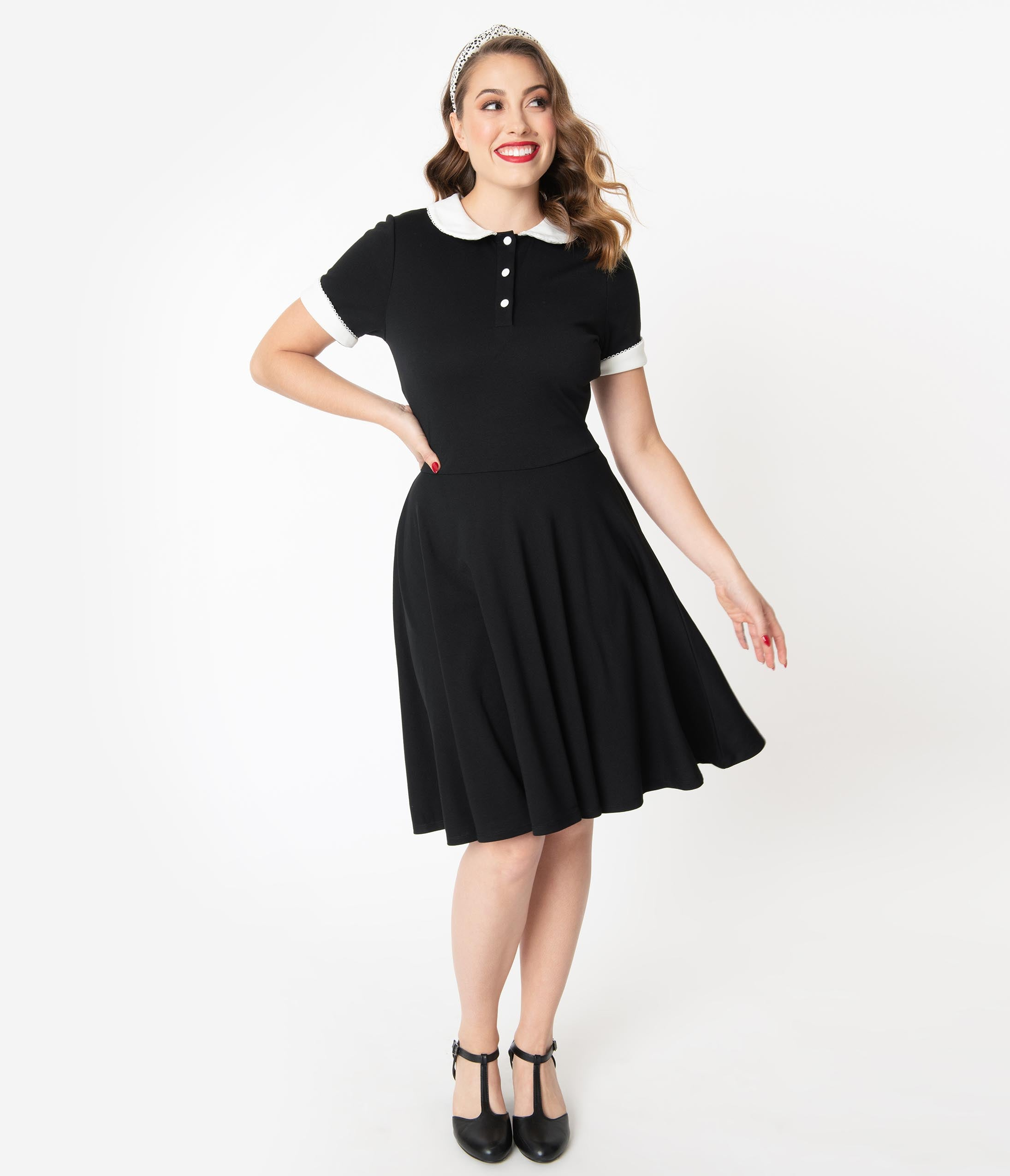 1950s House Dresses and Aprons History Unique Vintage Black  Ivory Collar Velma Fit  Flare Dress $78.00 AT vintagedancer.com