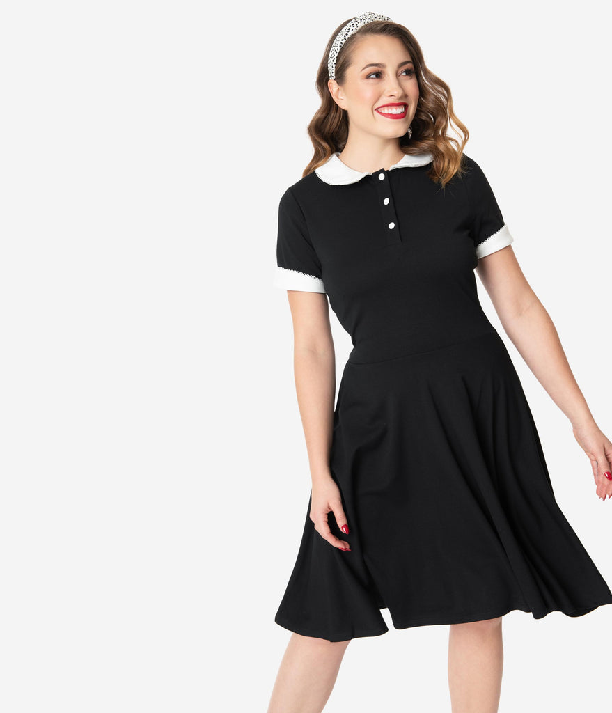 Unique Vintage Black & Ivory Collar Velma Fit & Flare Dress
