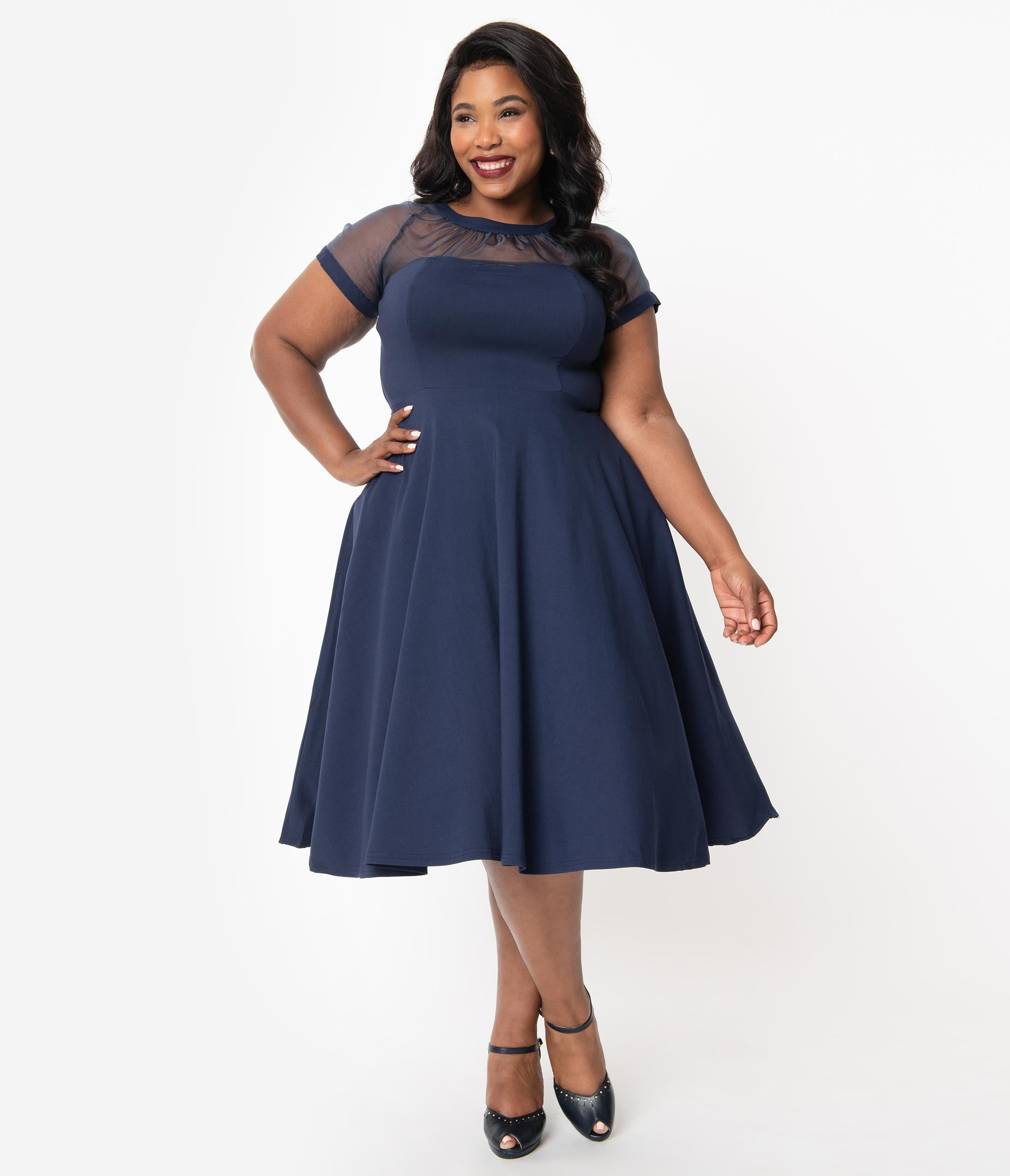 1950s Plus Size Dresses, Swing Dresses Unique Vintage Plus Size 1950S Navy Blue Shirelle Swing Dress $78.00 AT vintagedancer.com