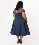 Unique Vintage Plus Size 1950s Navy Blue Shirelle Swing Dress