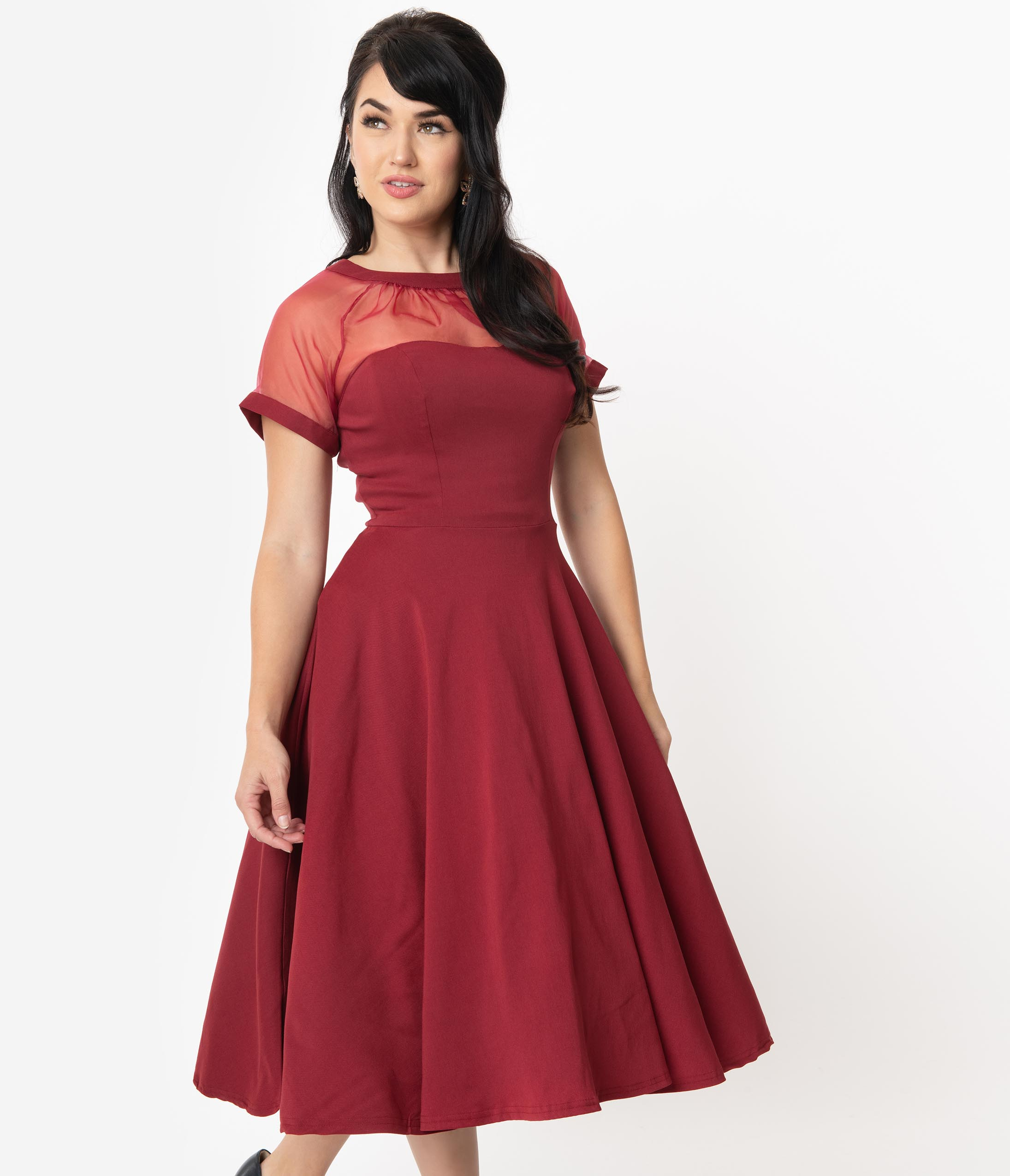 Vintage 50s Dresses: Best 1950s Dress Styles Unique Vintage 1950S Burgundy Shirelle Swing Dress $78.00 AT vintagedancer.com