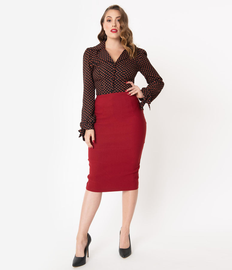 Unique Vintage Rust High Waist Tracy Wiggle Skirt