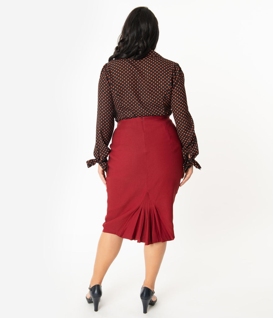 Unique Vintage Plus Size Rust High Waist Tracy Wiggle Skirt