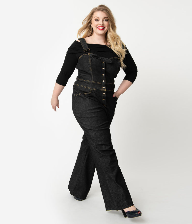 Unique Vintage Plus Size Black Denim Jean Sweetheart Ellie Overalls