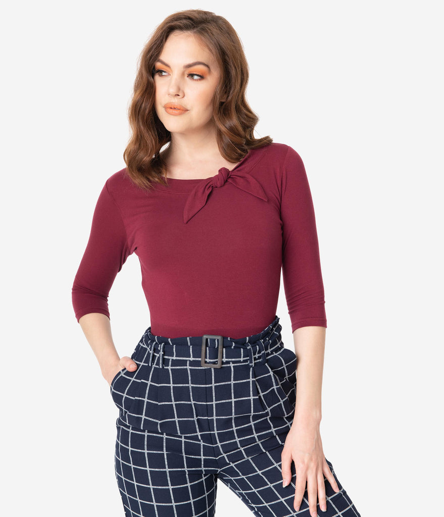 Retro Style Burgundy Three Quarter Sleeve Lily Top