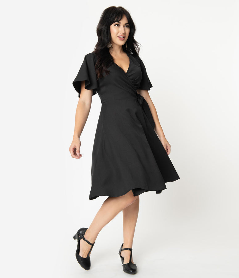Vintage Style Black Go Getter Butterfly Sleeve Rachel Wrap Dress
