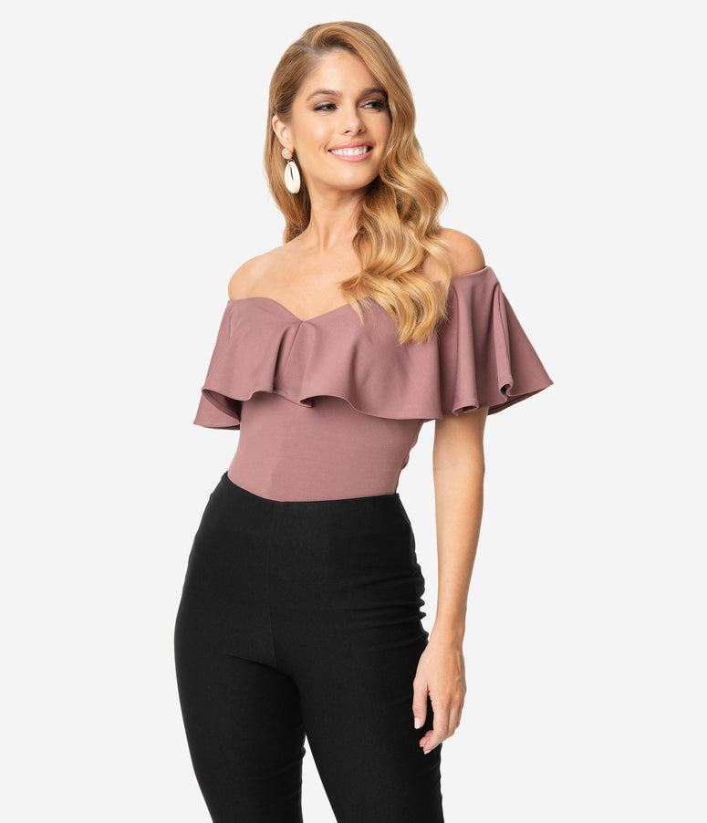 Unique Vintage 1950s Mauve Off Shoulder Ruffle Frenchie Top