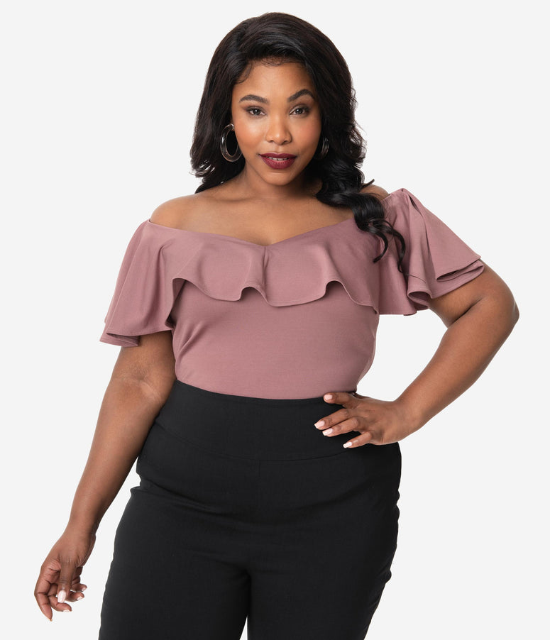 Unique Vintage Plus Size 1950s Mauve Off Shoulder Ruffle Frenchie Top