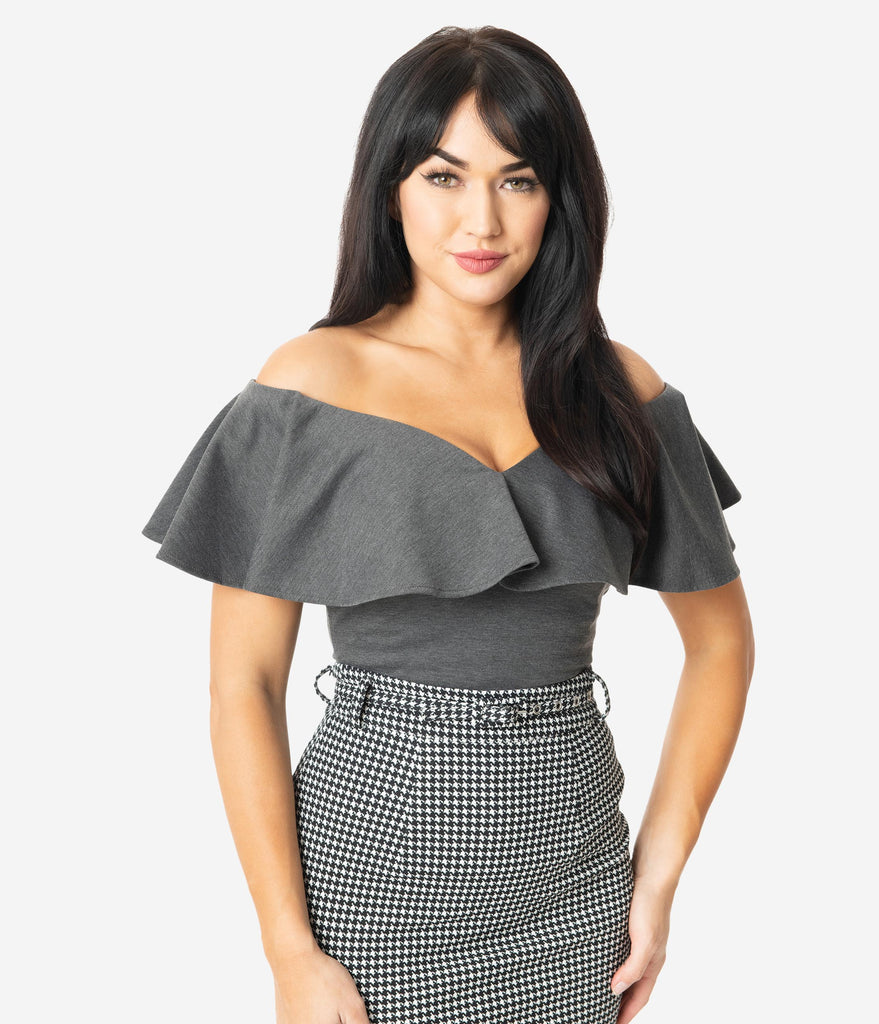 Unique Vintage 1950s Grey Off Shoulder Ruffle Frenchie Top