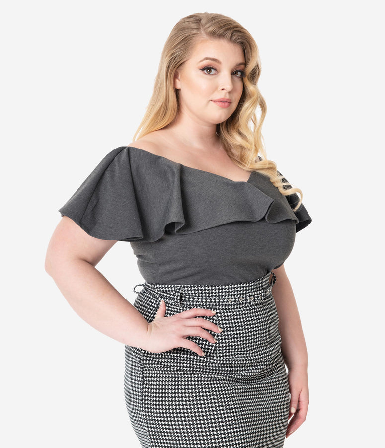 Unique Vintage Plus Size 1950s Grey Off Shoulder Ruffle Frenchie Top