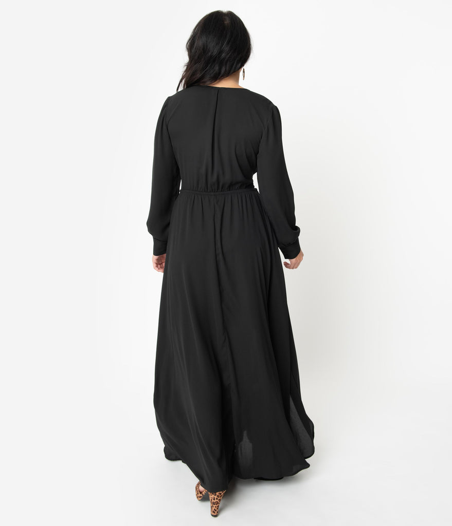 Unique Vintage Black Long Sleeve Farrah Maxi Dress