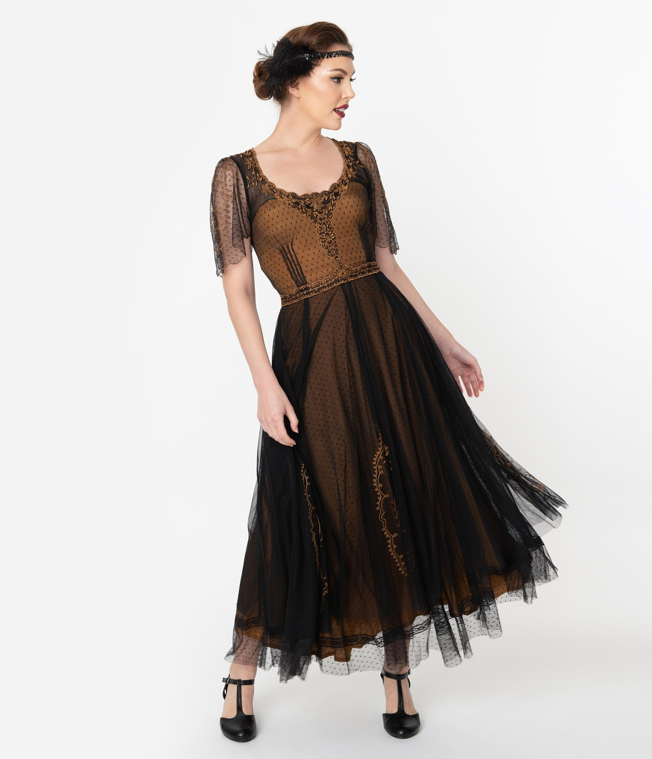 Vintage Evening Dresses and Formal Evening Gowns Vintage Style Black  Gold Embroidered Mesh Edwardian Gown $299.00 AT vintagedancer.com