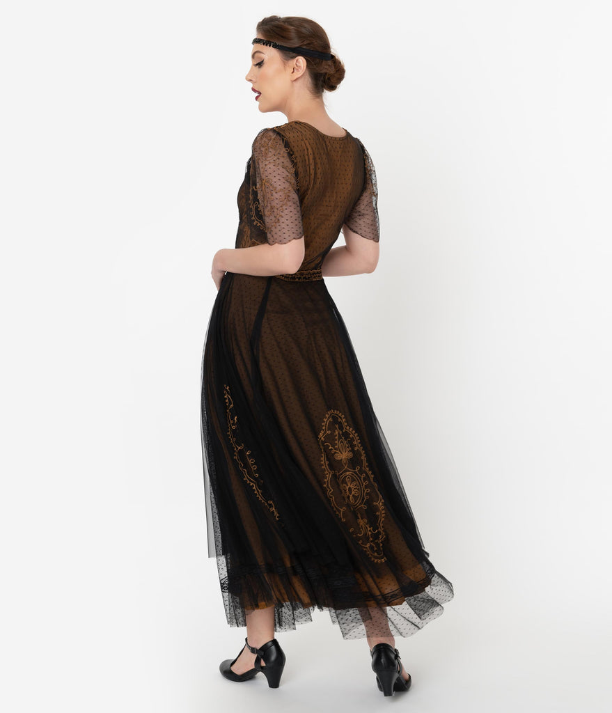 Vintage Style Black & Gold Embroidered Mesh Edwardian Gown