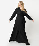 Unique Vintage Plus Size Black Long Sleeve Farrah Maxi Dress