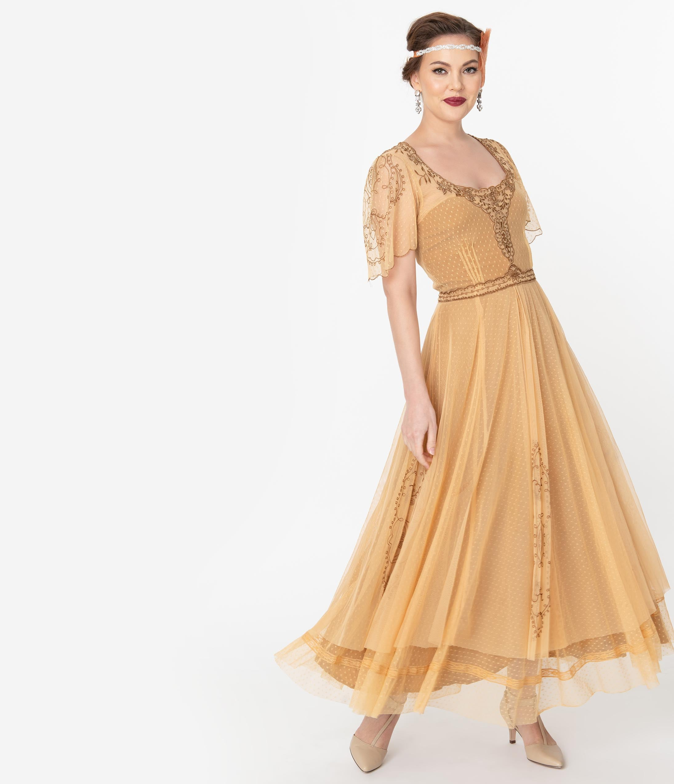 Best 1920s Prom Dresses – Great Gatsby Style Gowns Vintage Style Gold Embroidered Mesh Edwardian Gown $299.00 AT vintagedancer.com