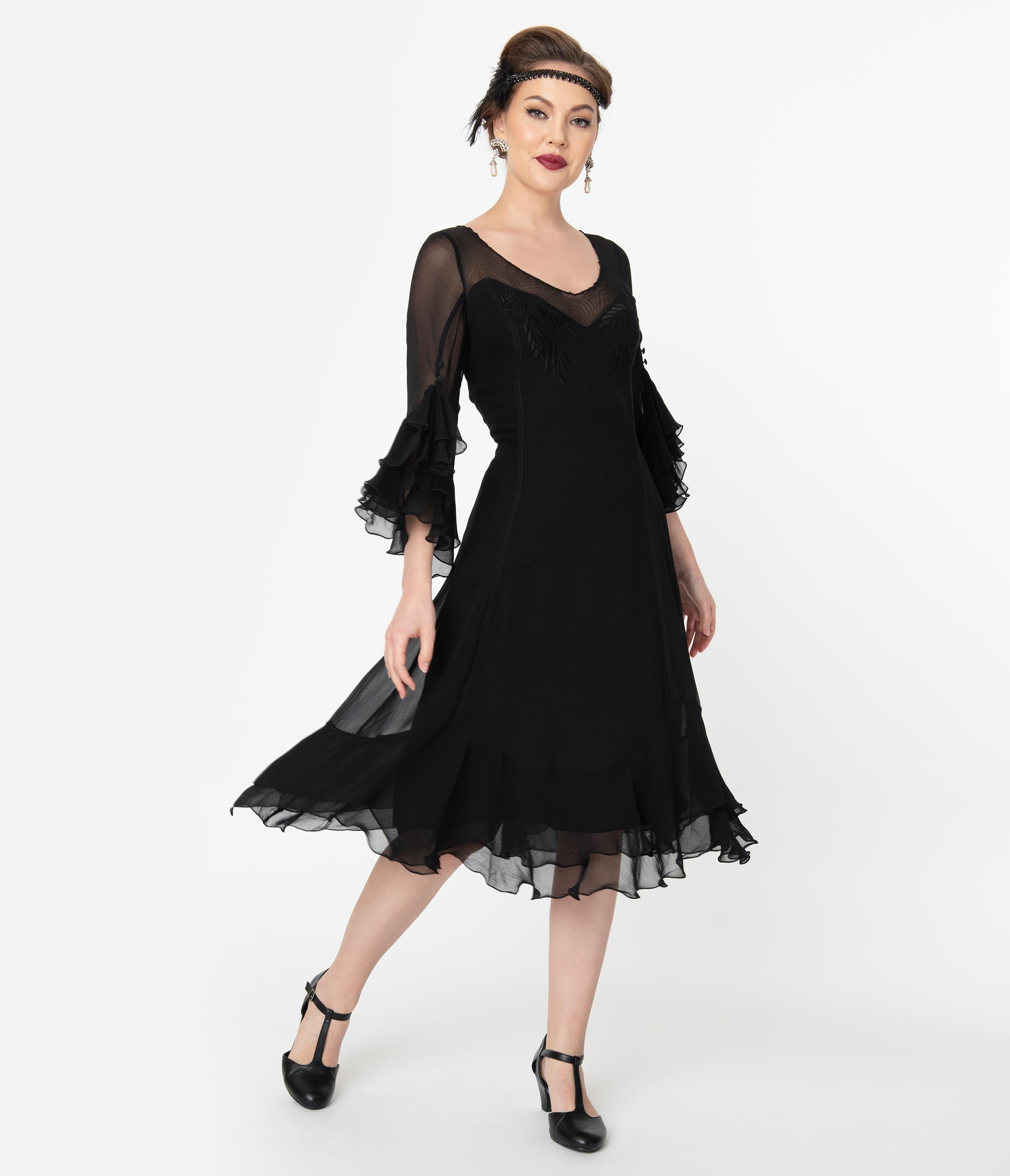 Black Flapper Dresses, 1920s Black Dresses 1920S Style Black Mesh Ruffle Leonardo Midi Dress $218.00 AT vintagedancer.com
