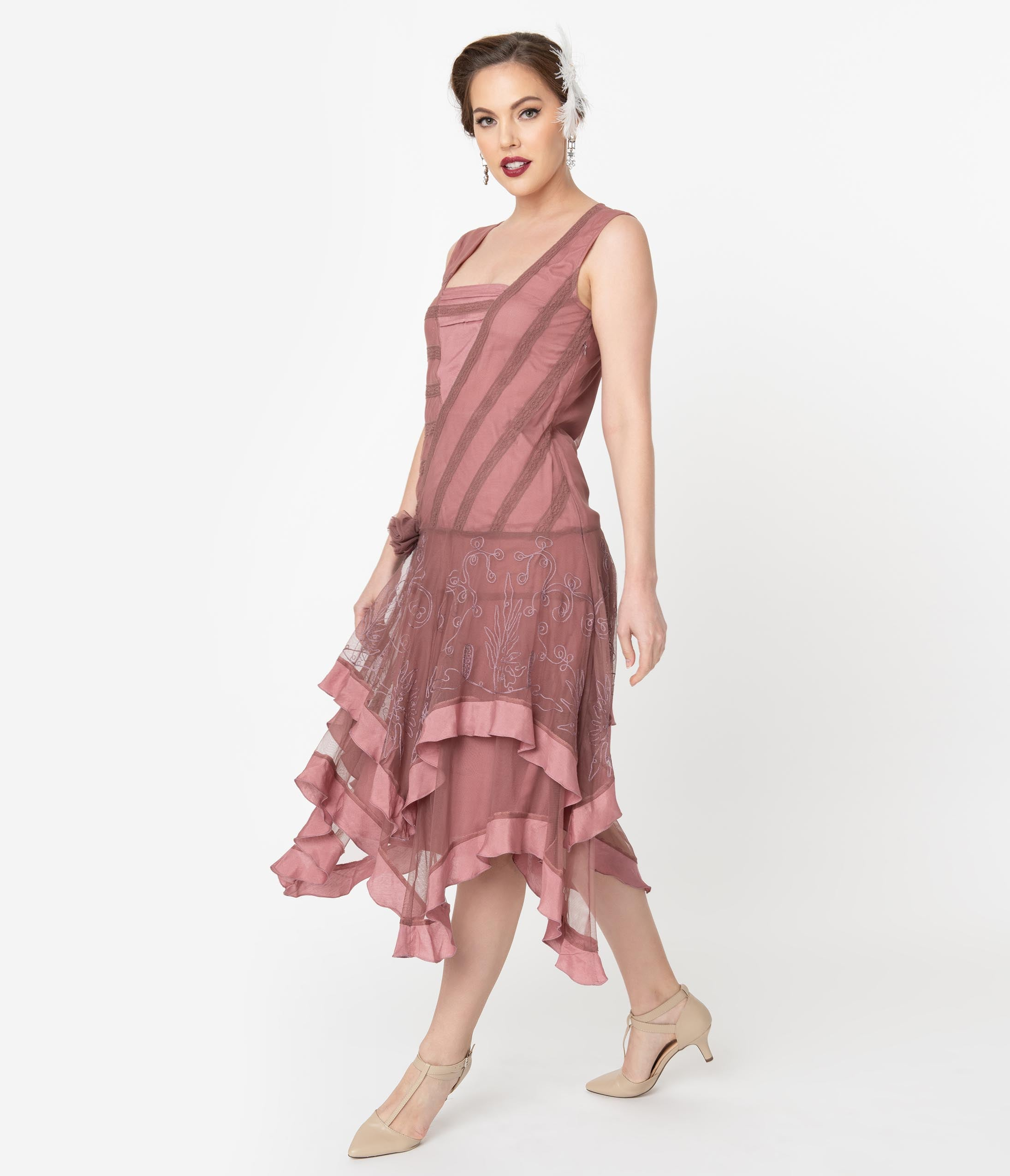 1920s Evening Dresses & Formal Gowns 1920S Style Mauve Pink Mesh Embroidered Charley Flapper Dress $212.00 AT vintagedancer.com